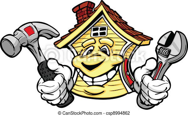 Una casa feliz con herramientas de reparación - csp8994862