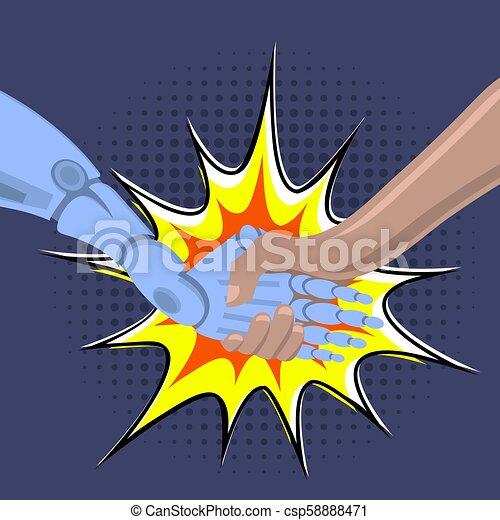 Brazo robot temblando. Robot masculino y humano cogiéndose de la mano con un apretón de manos. Tecnología de inteligencia artificial - csp58888471