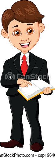 Hombre de negocios sosteniendo un libro - csp19640023