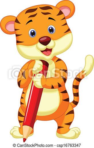 Lindo dibujo de tigre sosteniendo un penc rojo - csp16763347