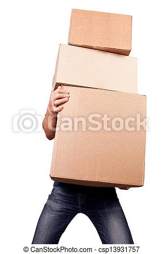 Hombre sosteniendo cajas de cartas pesadas, aislado en blanco - csp13931757