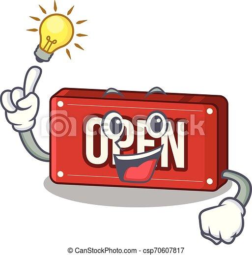 Tener una idea de un cartel abierto sobre la mesa de dibujos animados - csp70607817