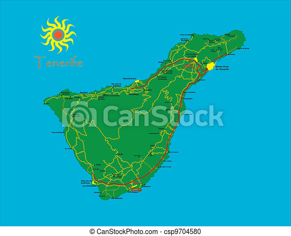 Map Of Spain Tenerife.Tenerife Map Highly Detailed Map Of The Spanish Island Of Tenerife