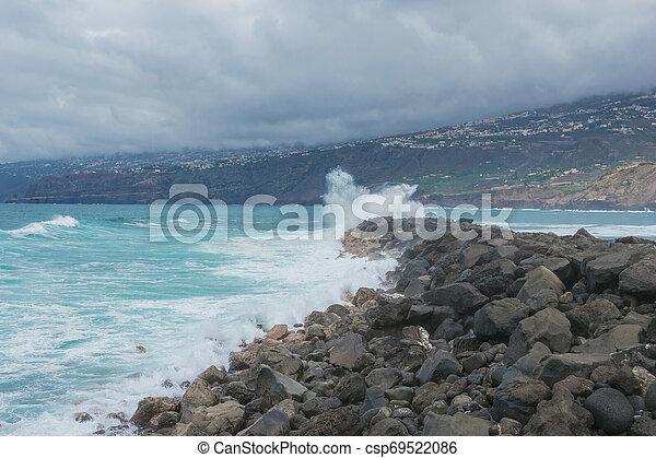 tenerife, oceânicos, contra, rocks., ondas, paisagem, bata - csp69522086