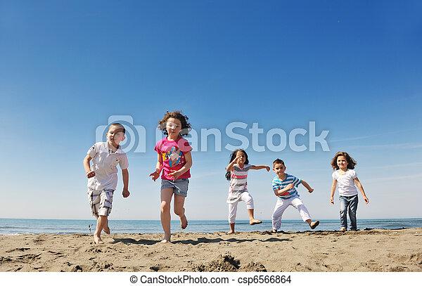tengerpart, boldog, csoport, játék, gyermek - csp6566864
