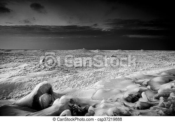 tengerpart, huron, napnyugta, tó, wintery - csp37219888