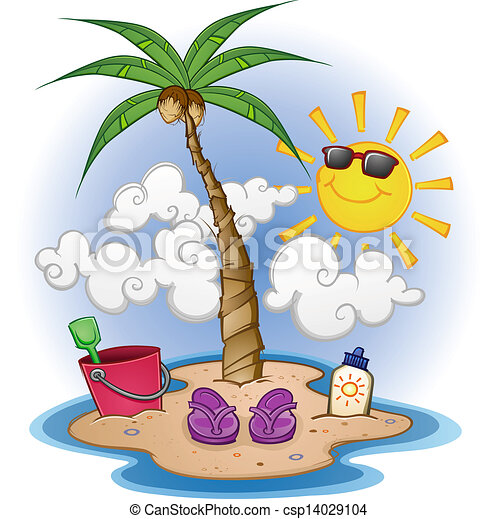 tengerpart, karikatúra, színhely - csp14029104