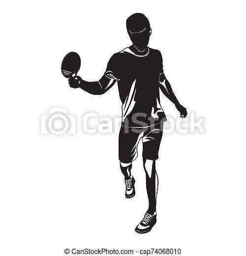 tenis, blanco, negro, tabla, silueta, vector, ilustración, jugador, plano de fondo - csp74068010