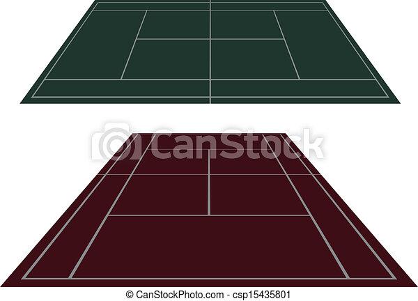 Pon las canchas de tenis en perspectiva - csp15435801
