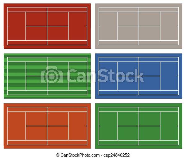 Un conjunto de diferentes canchas de tenis - csp24840252