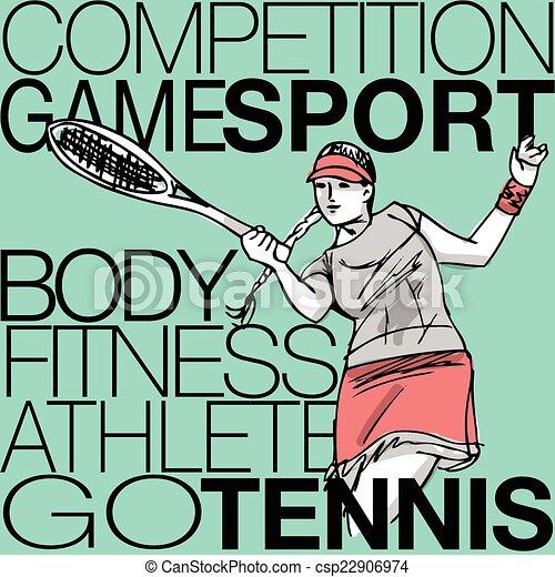 Ilustración de mujeres jugando al tenis - csp22906974