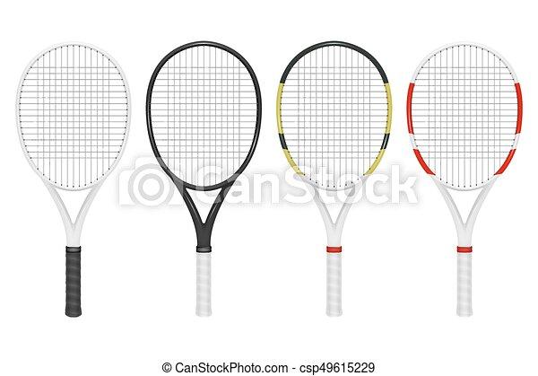 Una raqueta de tenis realista, un primer plano aislado de fondo blanco. Diseño de plantilla en EPS10. - csp49615229