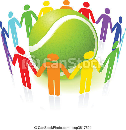 Bola de tenis con gente unida - csp3617524