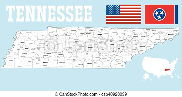 Tennessee county map - csp40928039