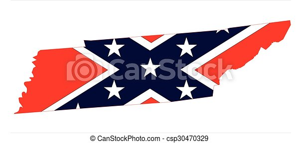 Tennessee Map And Confederate Flag - csp30470329