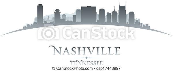Nashville Tennessee City skyline silueta fondo blanco - csp17443997