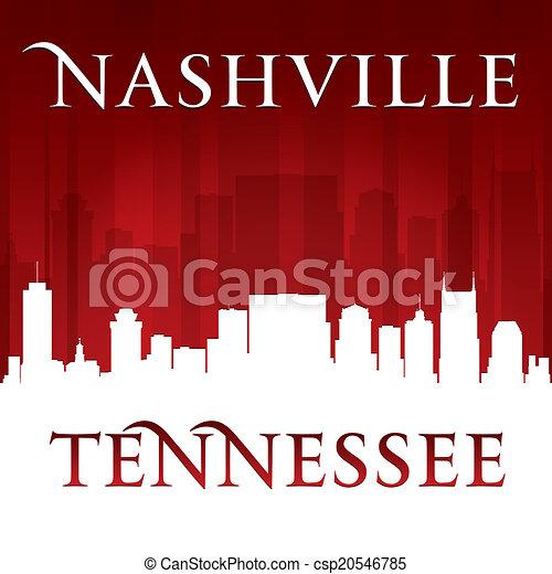 Nashville Tennessee City skyline silueta rojo fondo - csp20546785