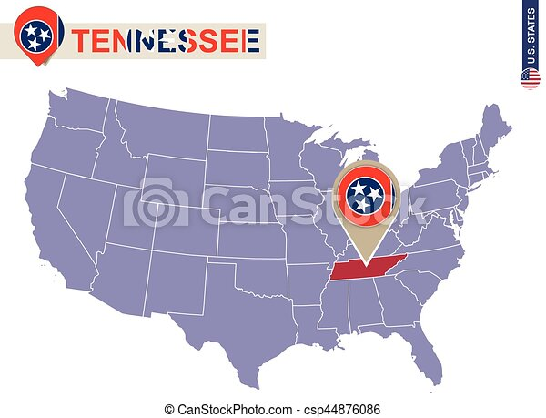 Tennessee State on USA Map. Tennessee flag and map. - csp44876086