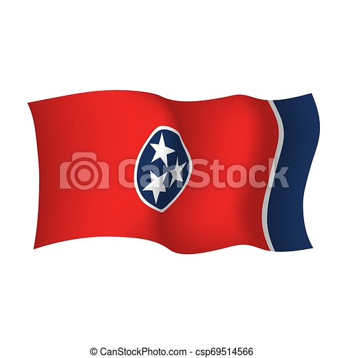 Tennessee state waving flag. Vector illustration of Tennessee state flag, USA - csp69514566