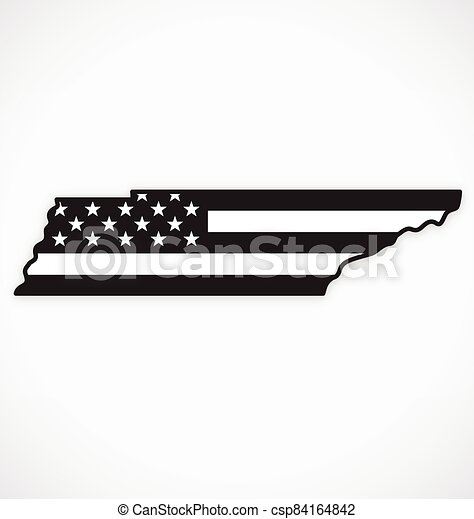 tennessee tn map with usa flag black white vector - csp84164842