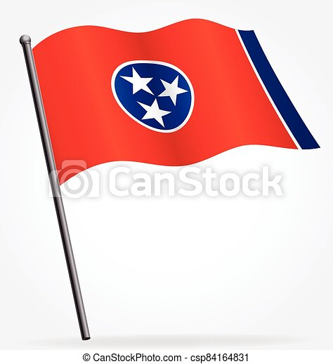 tennessee tn state flag flying on flagpole vector - csp84164831
