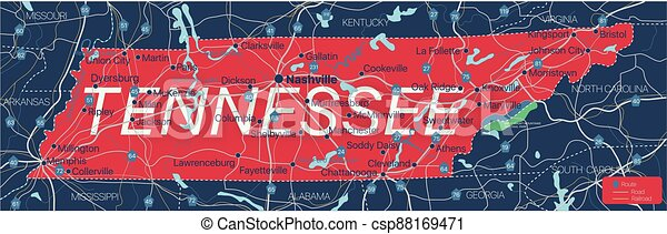 Tennesy state detailed editable map - csp88169471