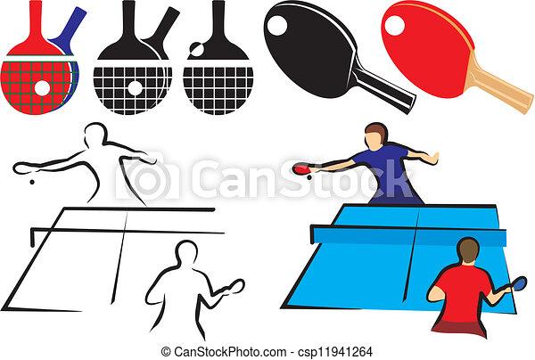 &, tennis, -, équipement, table, icône - csp11941264