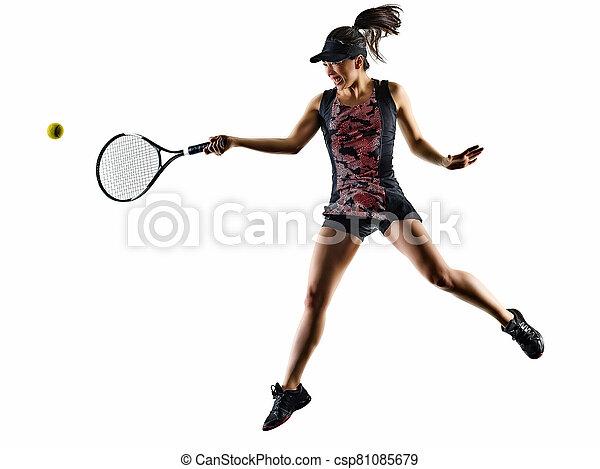 tennis, asiatische frau, brackground, freigestellt, junger, spieler, weißes, silhouette - csp81085679