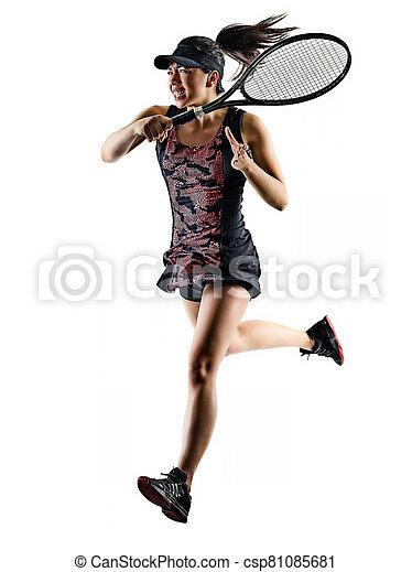 tennis, asiatische frau, brackground, freigestellt, junger, spieler, weißes, silhouette - csp81085681