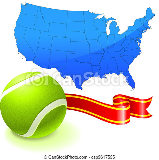Tennis ball with united states map original vector clipart vector tennis ball with united states map csp3617535 gumiabroncs Images