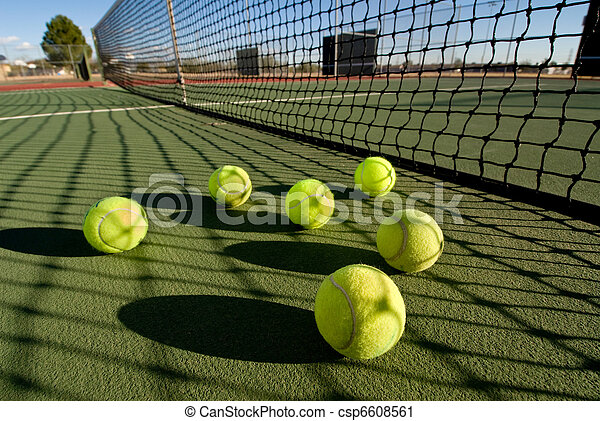 Tennis balls and court - csp6608561