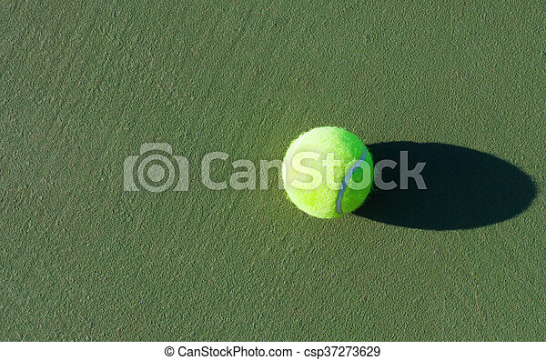 Tennis. Championship. Tennis ball on the hard surface courts - csp37273629