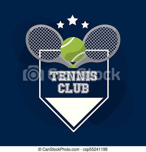 tennis club racket ball banner stamp design - csp55241198