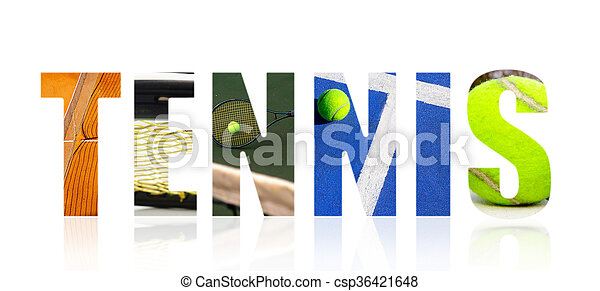 Tennis collage concept on white - csp36421648