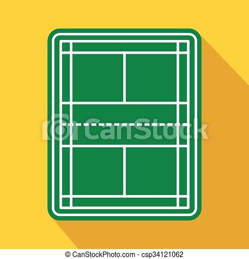 tennis court flat icon game symbol with shadow on a yellow rh canstockphoto com