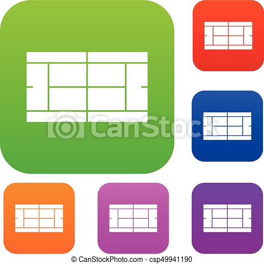 tennis court set collection tennis court set icon in eps vectors rh canstockphoto com tennis court clipart black and white