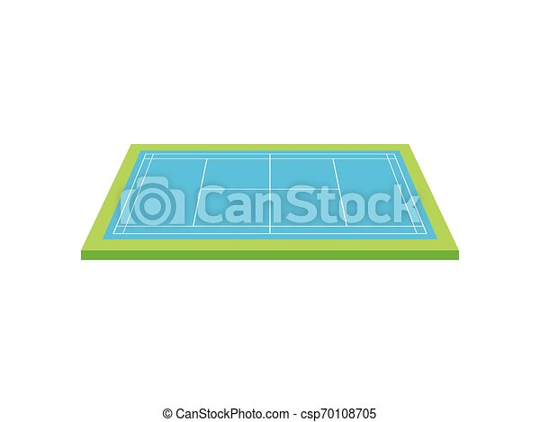 Tennis court. View from above. Vector illustration on white background. - csp70108705