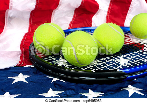 Tennis equipment on American flag - csp6495983