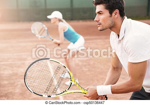 tennis, frau, seite, mann, ansicht - csp50136447