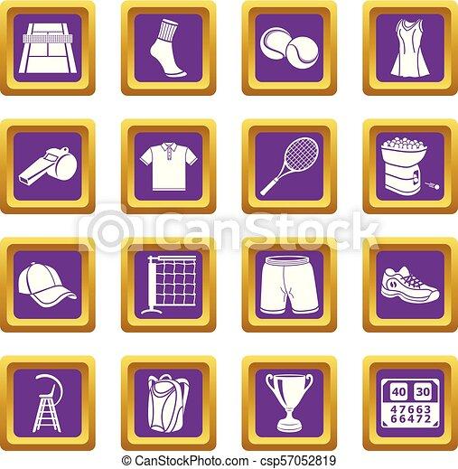 Tennis icons set purple square vector - csp57052819