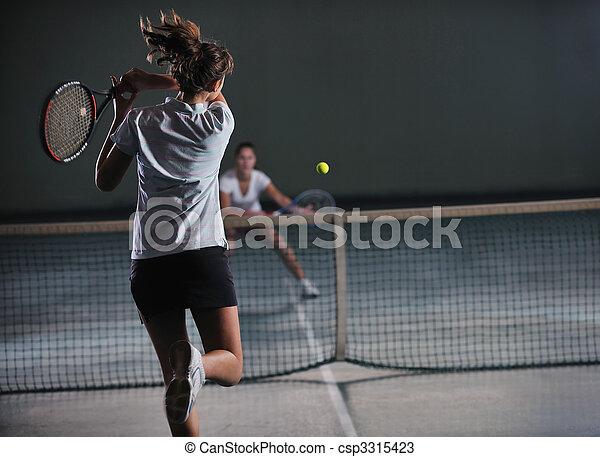 tennis, innen, mädels, junger, spiel, spielende  - csp3315423