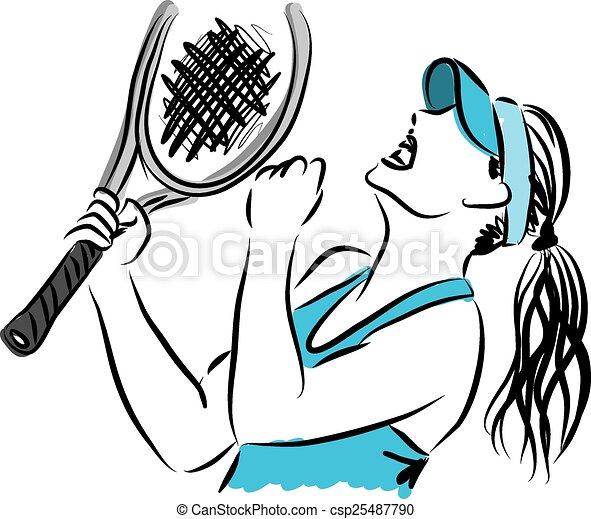 tennis player 3 illustration - csp25487790