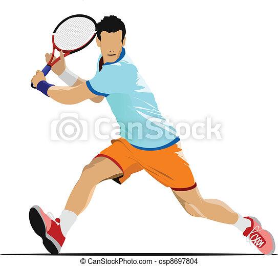 Tennis player. Colored Vector illu - csp8697804