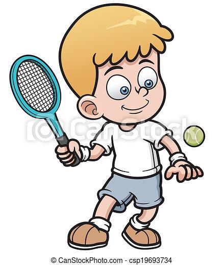Vector Illustration Of Cartoon Tennis Player Vectors