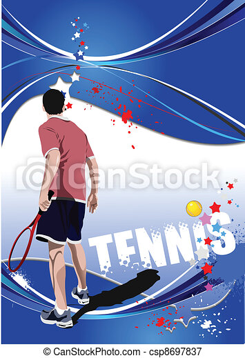 Tennis player poster. Colored Vect - csp8697837