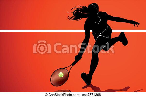 Tennis player silhouette - csp7871368