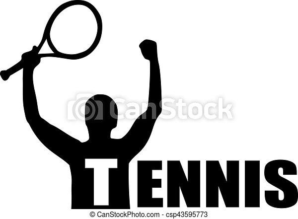 Tennis player winner with word Tennis - csp43595773