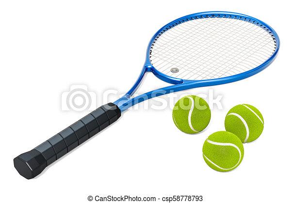 Tennis racket and balls, 3D rendering - csp58778793