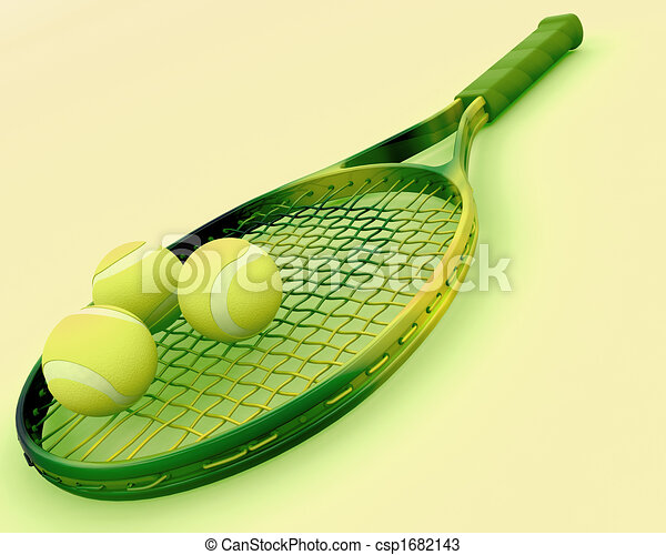 tennis racket and balls - csp1682143