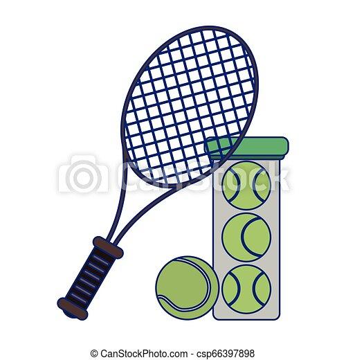 tennis racket and balls in bottle - csp66397898